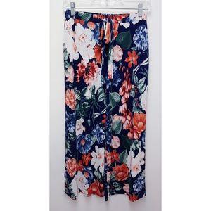 Olive Tree Blue Floral Cropped Wide Leg Pant SZ L